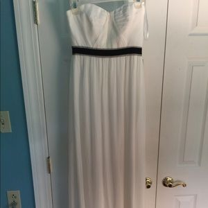BCBG Dresses - BCBG Floor-length white prom dress w/ black trim.